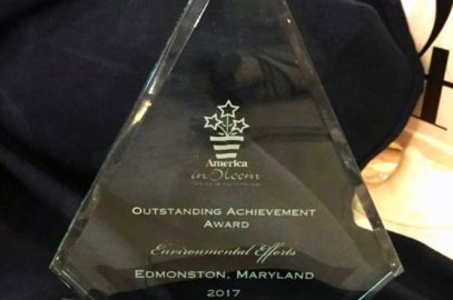 "Edmonston wins ""Outstanding Achievement award for Environmental Efforts"" from America in Bloom"