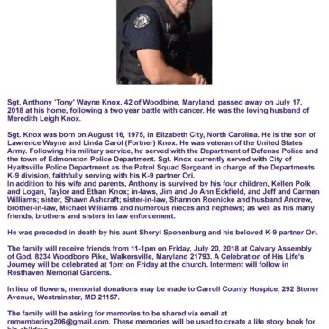 """REMEMBERING SGT. ANTHONLY """"TONY"""" KNOX"""