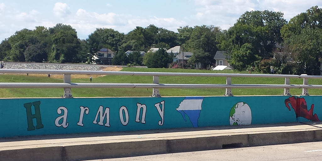 harmony mural on Decatur Street bridge