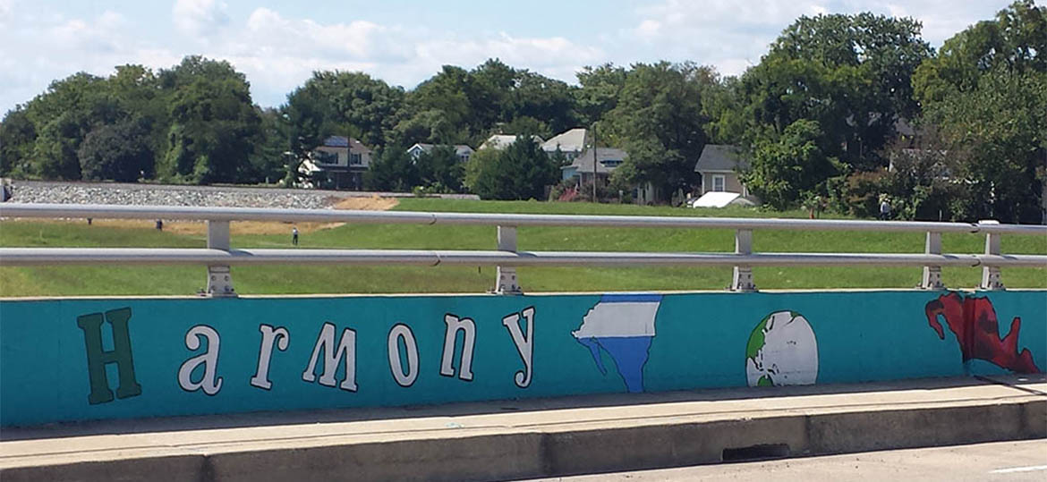 """Harmony"" mural on Decatur St. bridge"