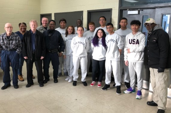 Air Force ROTC students with veterans